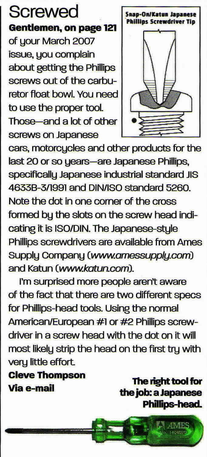 Japanese JIS phillips head screwdrivers